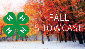 Fall Trees with Fall Showcase typed over them and 4-H Clover