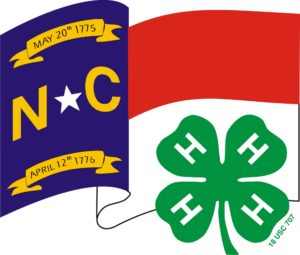 North Carolina Flag with 4-H Clover in front