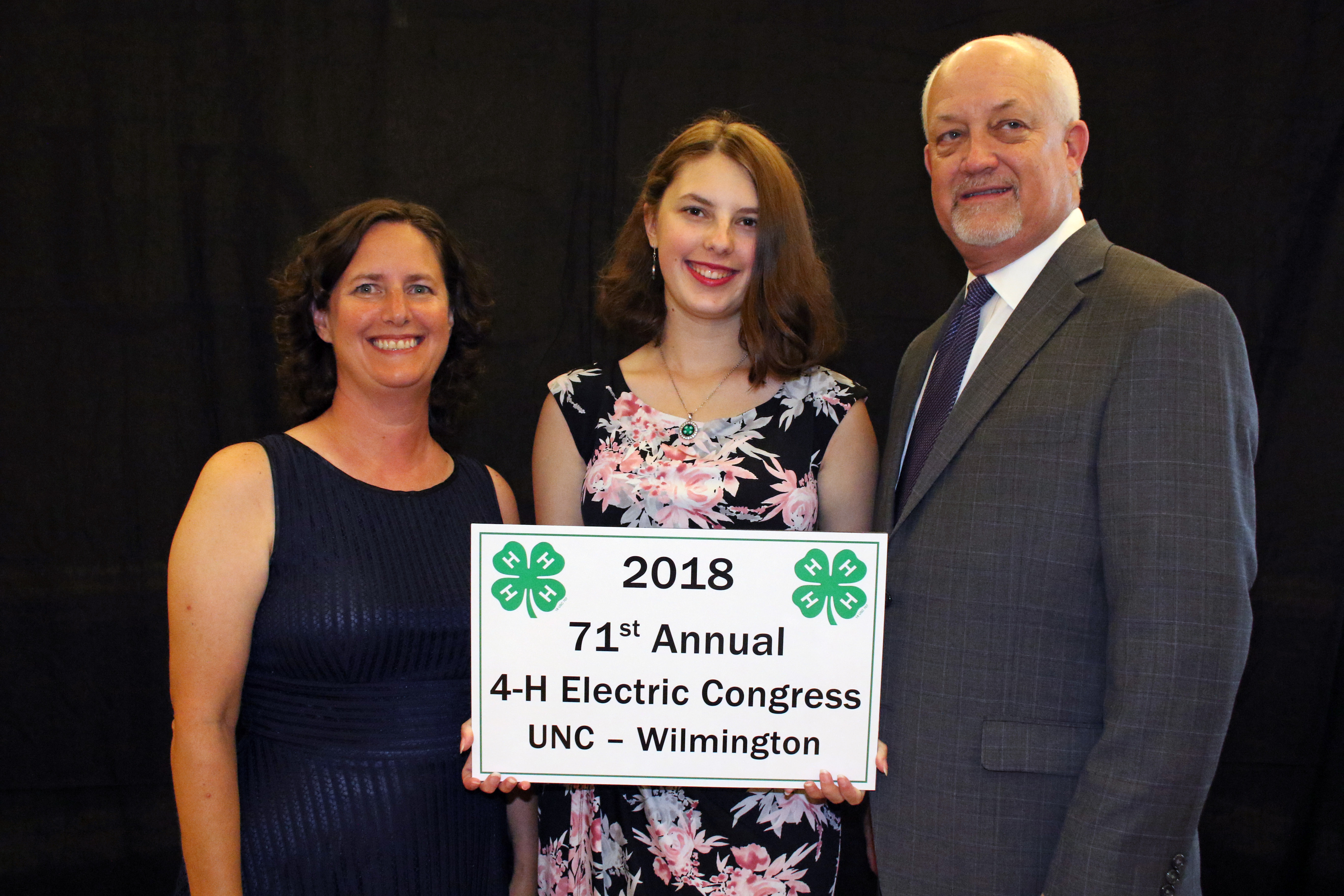 Pictured from left are Sherri Allen, Chloe Allen, daughter of James and Sherri Allen and Wayne Huddleston, account manager with Duke Energy.