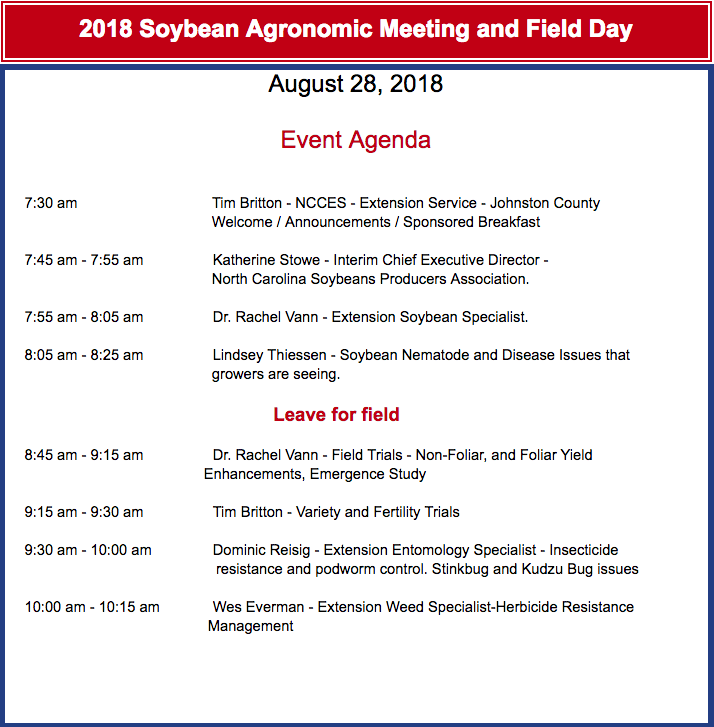 Agenda for Soybean Event August 28, 2018