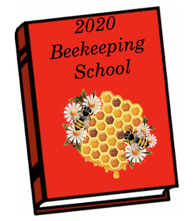 Red book clipart with 2020 Beekeeping School written on it and a clipart picture of honey bees and comb with daisies