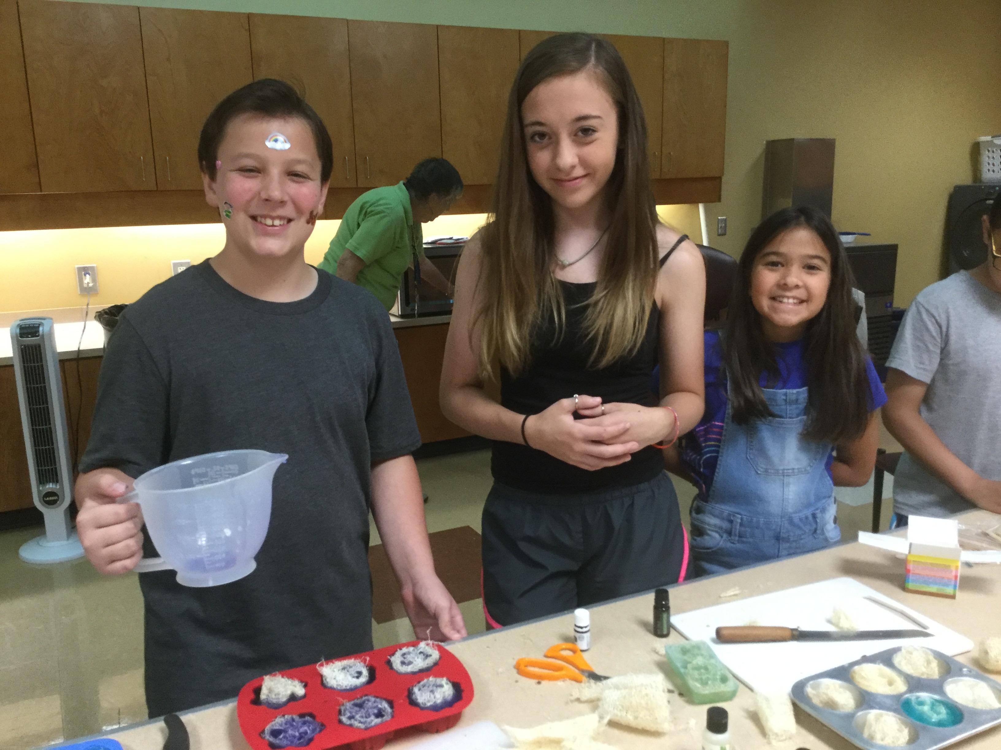 three participants in the 4-H Summer Fun Master Gardener Class