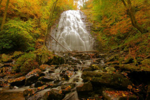 picture of fall colored trees and the waterfall located at Crabtree Falls, NC