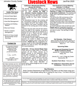 Front Page of Livestock Newsletter