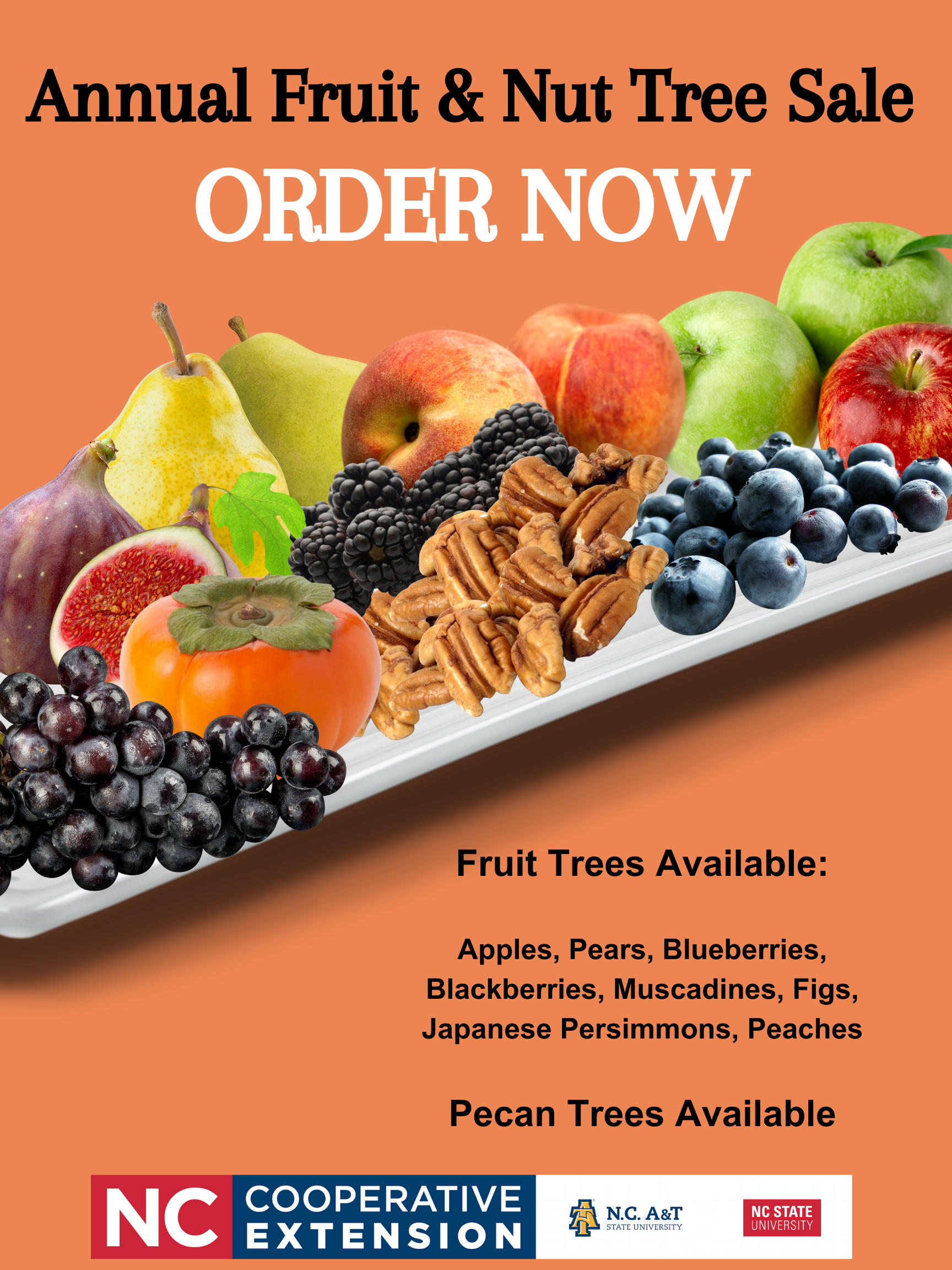 Fruit & Nut Tree Sale Flyer with various pictures of fruit we have for sale