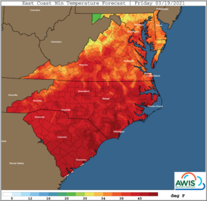 Cover photo for AWIS Weather Advisory 3/18/2021: Storm, Rain and a Chance for Frost