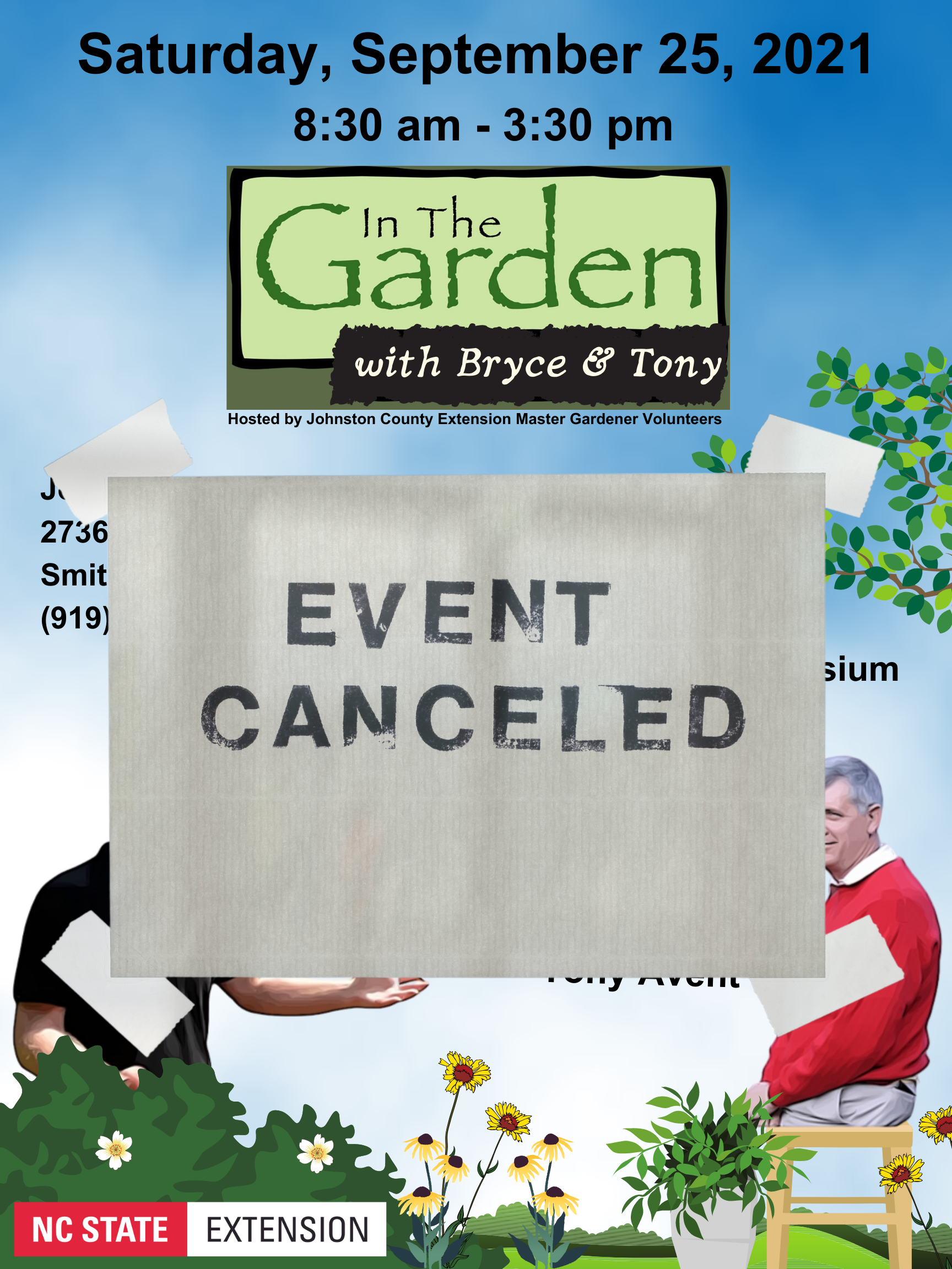Canceled Event for In the Garden with Bryce and Tony Symposium