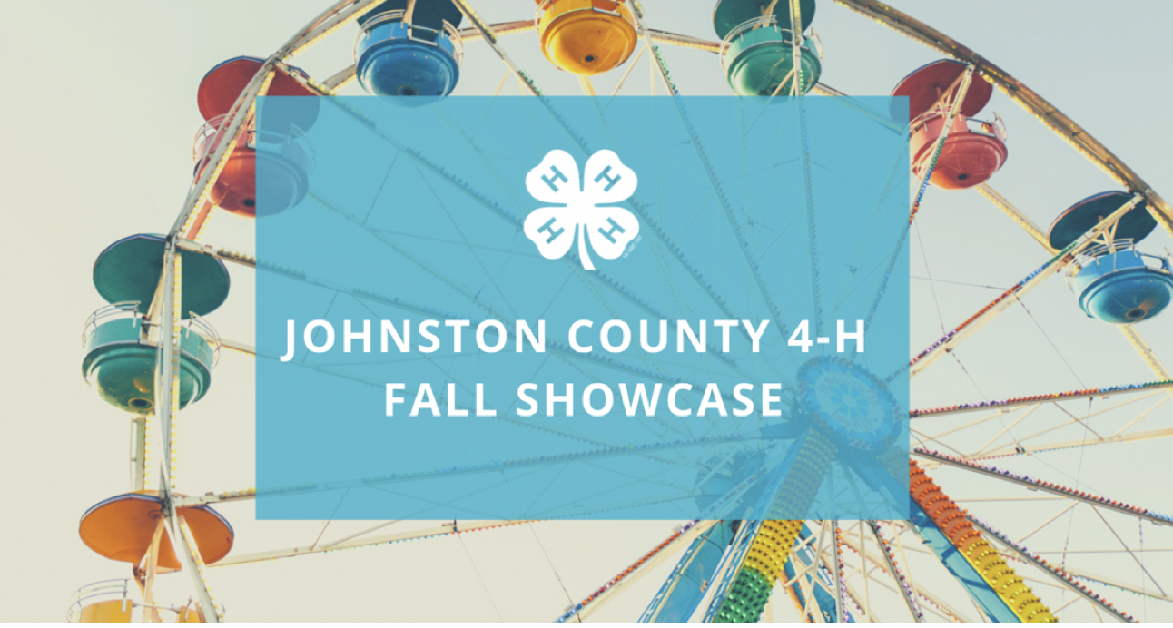 Johnston County 4-H Fall Showcase in white lettering with a white 4-H clover. Colorful ferris wheel behind text.